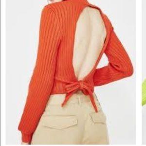 Signed N Delivered back tie sweater. Orange Sz M